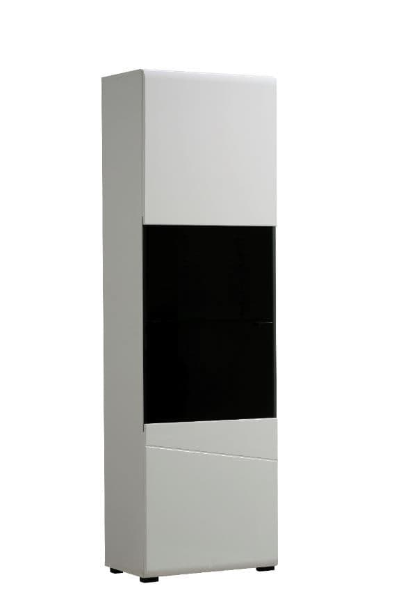 Trinity Tall White Gloss and Black Display Cabinet with Glass Door